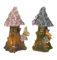 An assortment of 2 enchanting solar powered flower houses each with butterflies.