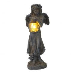 A charming fairy ornament carrying an LED solar powered lantern. A magical addition to any garden.