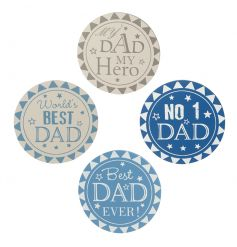 A set of 4 blue and white slogan coasters. The perfect way to show your dad how much you care.