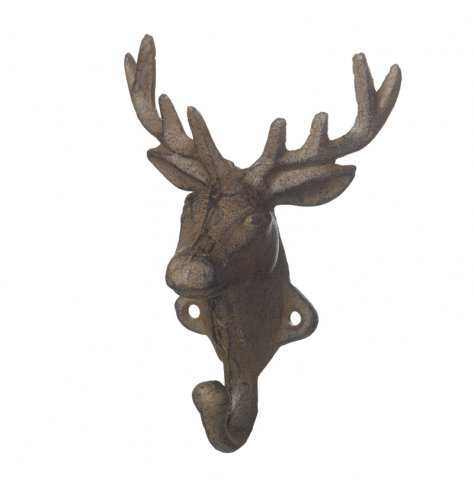 A rustic cast iron reindeer hook with a rustic finish.