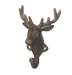 A rustic style cast iron deer hook. A great gift item and home accessory.