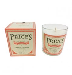 A richly scented orange and ginger candle jar from Prices heritage range.