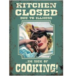 A humorous mini metal cooking sign. Perfect for hanging in the kitchen and for gifting to others!