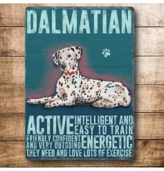 A mini metal sign with a Dalmatian illustration with characteristics listed.
