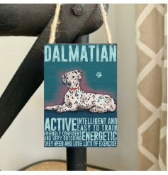 A charming mini metal sign with Dalmatian characteristics with illustration.