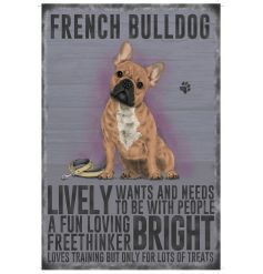 A mini metal sign with a french bulldog character decal and jute string to hang.