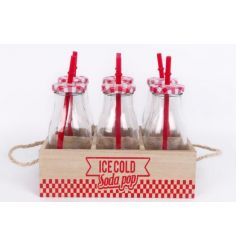 A set of 6 milk bottles with straws set within a retro wooden box with handles.