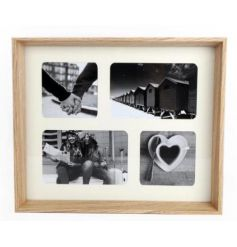 A classic natural style photo frame with space for 4 images. A stylish item to compliment many interior settings.