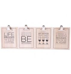 An assortment of 4 humorous slogan clipboards feature coffee, wine and holiday slogans.