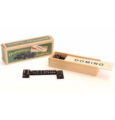 A traditional dominos set with retro packaging.