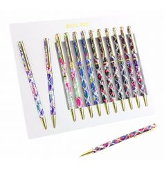 An assortment of floral laser pens. A stylish pen with gold detailing.
