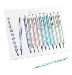 An assortment of 4 silver and pastel coloured patterned laser pens.