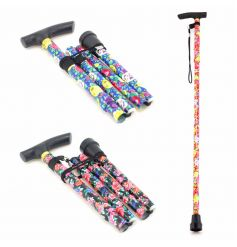 Stylish and practical floral walking sticks which easily fold up when not in use.