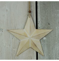 A natural wooden 3D star with jute string hanger and bead detail.