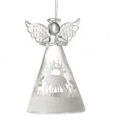 A stunning glass angel decoration with a glitter reindeer design skirt.