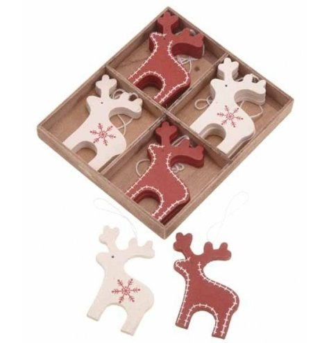 A set of 12 red and white wooden reindeer decorations with a stitched and snowflake design.