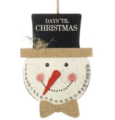 Countdown the days until Christmas with this shabby chic style hanging snowman