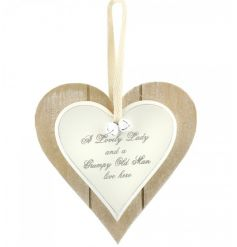 A lovely lady and a grumpy old man live here. A shabby chic style double heart plaque with bells.