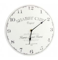 A shabby chic style clock. A great home accessory to compliment many interiors.