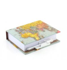 A fantastic world traveller design memo pad with pen. A great gift item!