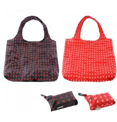 A mix of 2 practical clip bag shoppers, each with a heart design.