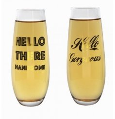 An assortment of 2 stemless flutes with 'hello there handsome' and 'hello gorgeous' slogans in gold