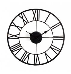 A contemporary style clock with roman numerals. A stylish home accessory.