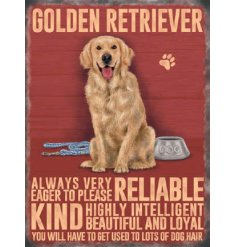 An adorable metal sign with a sweet sitting golden retriever