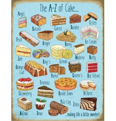 A large metal sign displaying all the mouth watering types of cakes from A to Z