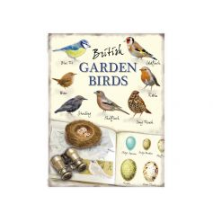 A vintage feeling metal sign with a list of British Garden Birds