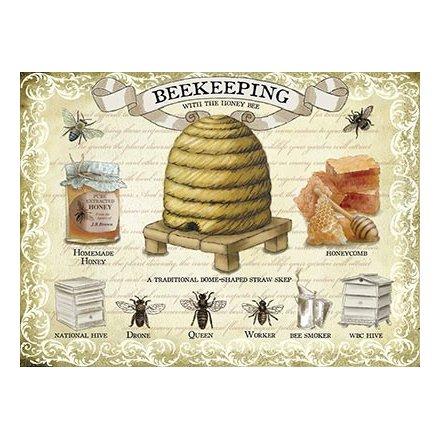 Vintage Beekeeping Metal Sign