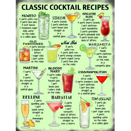 Classic Cocktail Recipes Metal Sign