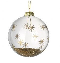 A stunning glitter bauble filled with gold sparkle and decorated with stars.