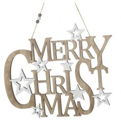 A natural and white wooden Merry Christmas sign with stars.