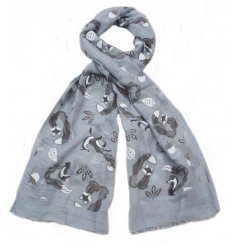 A mix of 3 charming woodland fox scarves in grey and cream colours.