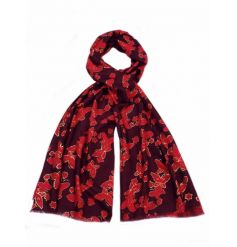 An assortment of richly coloured butterfly scarves. A stylish way to keep cosy this season.