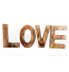 A chunky wooden LOVE sign in a natural wood. A great home accessory.