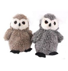An assortment of 2 fabric owl doorstops in natural and grey designs.