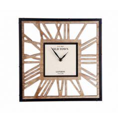 A modernised waxed wood clock, its Skeleton style