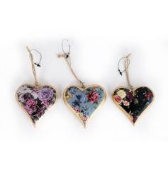 An assortment of 3 antique floral hanging hearts in pretty purple, blue and black colours.