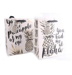 An assortment of 2 tropical design gift bags with matching tags.