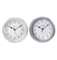 A mix of 2 classic clocks in white and purple designs.