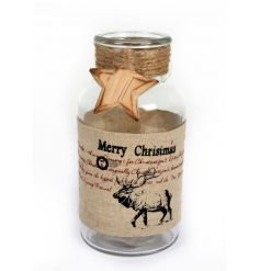 A rustic style bottle with a stag design, festive star and hessian rope.