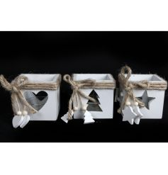 A mix of 3 shabby chic style wooden t-light holders with rustic hessian bows and tree, star and heart decorations.