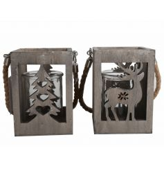 An assortment of 2 rustic style wooden lanterns with a reindeer and tree design. Complete with chunky rope hanger.
