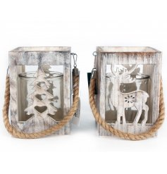 A mix of two woodland style lanterns with a reindeer and tree cut out design. Complete with chunky rope hanger.
