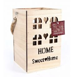 A wooden house design lantern with a home sweet home slogan and chunky rope handle.