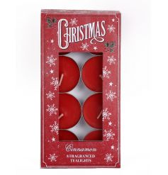 A pack of 8 red scented cinnamon t-light holders in Christmas packaging.