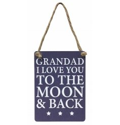 Grandad I love you to the moon & back mini metal sign with jute string to hang.