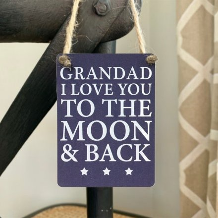 Grandad I love you to the moon & back mini metal sign